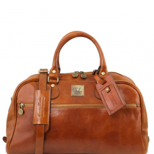 Tuscany Leather TL141405 TL Voyager - Travel leather bag- Small size Honey