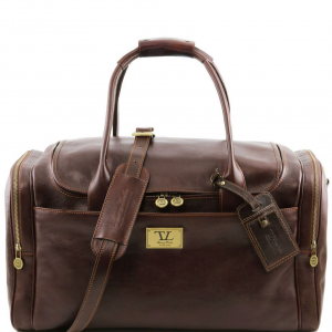 Tuscany Leather TL141296 TL Voyager - Sac de voyage en cuir avec poches aux côtés Marron foncé