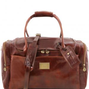 Tuscany Leather TL141296 TL Voyager - Sac de voyage en cuir avec poches aux côtés Marron