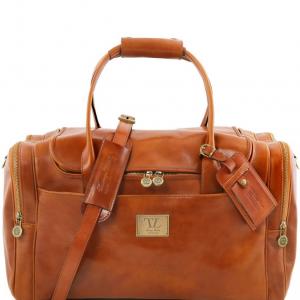 Tuscany Leather TL141296 TL Voyager - Sac de voyage en cuir avec poches aux côtés Miel