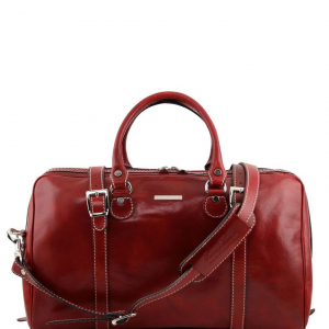 Tuscany Leather TL1014 Berlin - Travel leather duffle bag - Small size Red