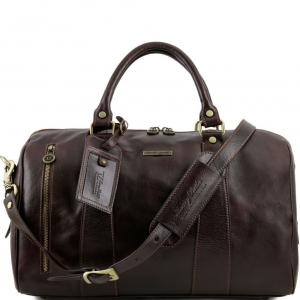 Tuscany Leather TL141216 TL Voyager - Travel leather duffle bag - Small size Dark Brown