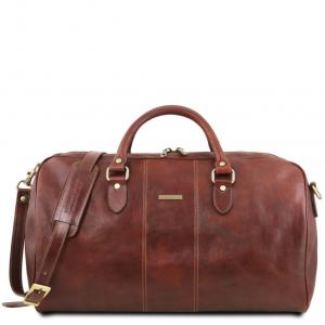 Tuscany Leather TL141657 Lisbona - Travel leather duffle bag - Large size Brown