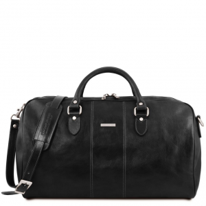 Tuscany Leather TL141657 Lisbona - Travel leather duffle bag - Large size Black
