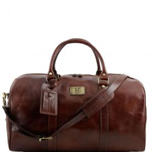 Tuscany Leather TL141247 TL Voyager - Sac de voyage en cuir avec poche à l'arrière - Grand modèle Marron