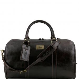 Tuscany Leather TL141247 TL Voyager - Sac de voyage en cuir avec poche à l'arrière - Grand modèle Marron foncé
