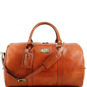 Tuscany Leather TL141247 TL Voyager - Sac de voyage en cuir avec poche à l'arrière - Grand modèle Miel