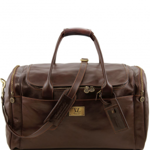 Tuscany Leather TL141281 TL Voyager - Sac de voyage en cuir avec poches aux côtés - Grand modèle Marron foncé