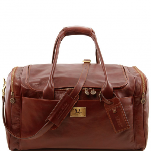 Tuscany Leather TL141281 TL Voyager - Sac de voyage en cuir avec poches aux côtés - Grand modèle Marron
