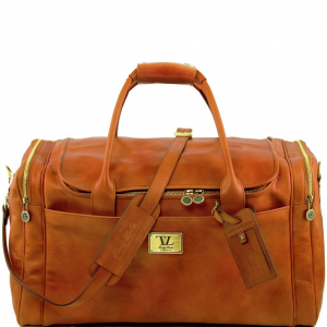 Tuscany Leather TL141281 TL Voyager - Travel leather bag with side pockets - Large size Honey