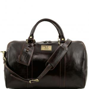 Tuscany Leather TL141250 TL Voyager - Sac de voyage en cuir avec poche à l'arrière - Petit modèle Marron foncé