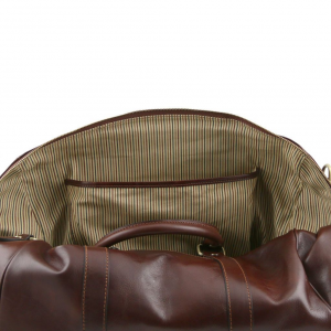 Tuscany Leather TL141250 TL Voyager - Travel leather duffle bag with pocket on the back side - Small size Dark Brown