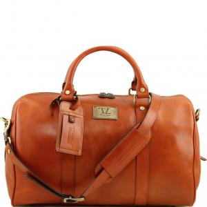 Tuscany Leather TL141250 TL Voyager - Sac de voyage en cuir avec poche à l'arrière - Petit modèle Miel