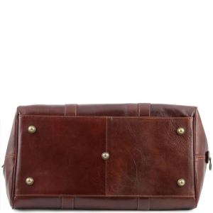 Tuscany Leather TL141250 TL Voyager - Travel leather duffle bag with pocket on the back side - Small size Honey