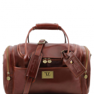 Tuscany Leather TL141441 TL Voyager - Travel leather bag with side pockets - Small size Brown