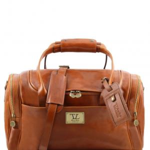 Tuscany Leather TL141441 TL Voyager - Sac de voyage en cuir avec poches aux côtés - Petit modèle Miel
