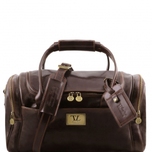 Tuscany Leather TL141441 TL Voyager - Travel leather bag with side pockets - Small size Dark Brown