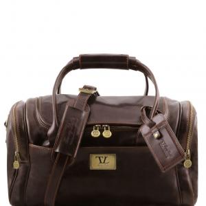 Tuscany Leather TL141441 TL Voyager - Sac de voyage en cuir avec poches aux côtés - Petit modèle Marron foncé