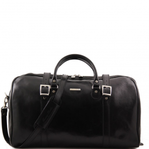 Tuscany Leather TL1013 Berlin - Travel leather duffle bag with front straps - Large size Black
