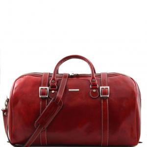 Tuscany Leather TL1013 Berlin - Sac de voyage en cuir avec boucles - Grand modèle Rouge