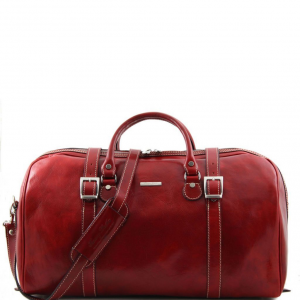 Tuscany Leather TL1013 Berlin - Travel leather duffle bag with front straps - Large size Red