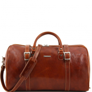 Tuscany Leather TL1013 Berlin - Sac de voyage en cuir avec boucles - Grand modèle Miel
