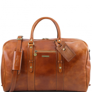 Tuscany Leather TL141401 TL Voyager - Leather travel bag with front pocket Honey