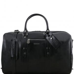 Tuscany Leather TL141401 TL Voyager - Sac de voyage en cuir avec poche frontale Noir