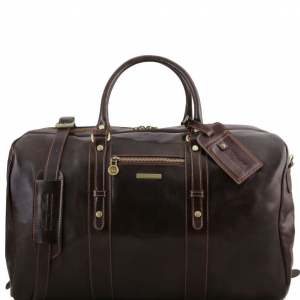 Tuscany Leather TL141401 TL Voyager - Leather travel bag with front pocket Dark Brown