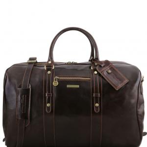 Tuscany Leather TL141401 TL Voyager - Sac de voyage en cuir avec poche frontale Marron foncé