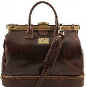 Tuscany Leather TL141185 Barcellona - Sac de voyage en cuir avec double fond Marron foncé