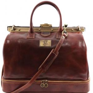 Tuscany Leather TL141185 Barcellona - Sac de voyage en cuir avec double fond Marron