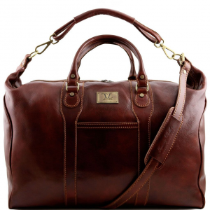 Tuscany Leather TL1049 Amsterdam - Travel leather weekender bag Brown
