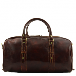Tuscany Leather TL140935 Francoforte - Exclusive Leather Weekender Travel Bag - Small size Dark Brown