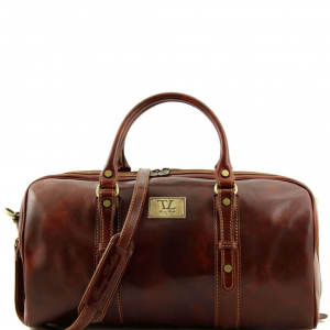 Tuscany Leather TL140935 Francoforte - Exclusive Leather Weekender Travel Bag - Small size Brown