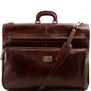 Tuscany Leather TL3056 Papeete - Porta abiti in pelle con tascone davanti Marrone