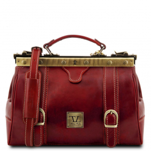 Tuscany Leather TL10034 Monalisa - Doctor gladstone leather bag with front straps Red