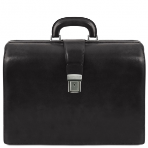 Tuscany Leather TL141347 Canova - Leather Doctor bag briefcase 3 compartments Black