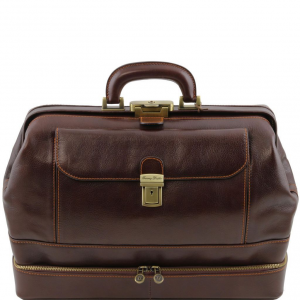 Tuscany Leather TL141297 Giotto - Exclusive double-bottom leather doctor bag Dark Brown