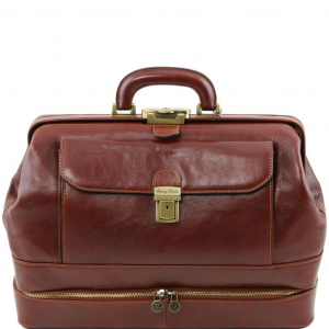 Tuscany Leather TL141297 Giotto - Elégante Mallette médecin en cuir à double fond Marron