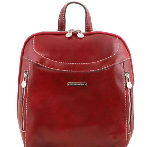 Tuscany Leather TL141557 Manila - Sac à dos en cuir Rouge