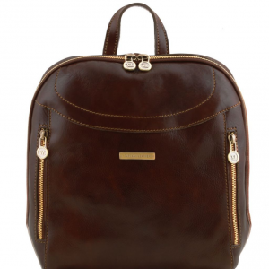 Tuscany Leather TL141557 Manila - Leather backpack Dark Brown