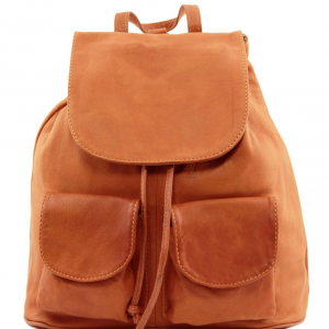 Tuscany Leather TL141508 Seoul - Leather backpack Small size Cognac