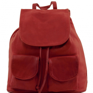 Tuscany Leather TL141508 Seoul - Leather backpack Small size Red