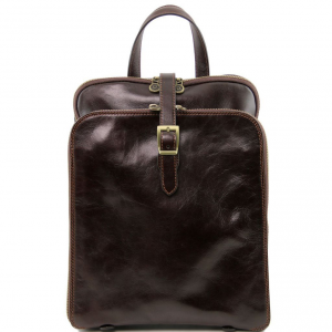 Tuscany Leather TL141239 Taipei - 3 Compartments leather backpack Dark Brown