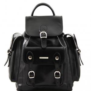 Tuscany Leather TL9052 Pechino - Zaino in pelle con ampie tasche Nero