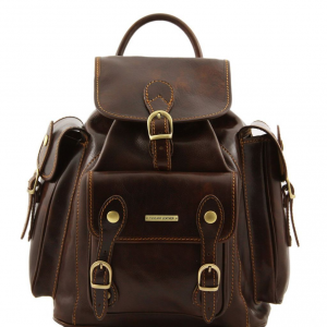 Tuscany Leather TL9052 Pechino - Leather Backpack Dark Brown