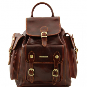 Tuscany Leather TL9052 Pechino - Leather Backpack Brown