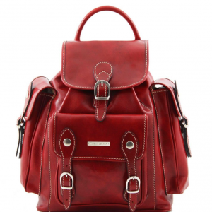 Tuscany Leather TL9052 Pechino - Leather Backpack Red