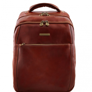 Tuscany Leather TL141402 Phuket - 3 Compartments leather laptop backpack Brown